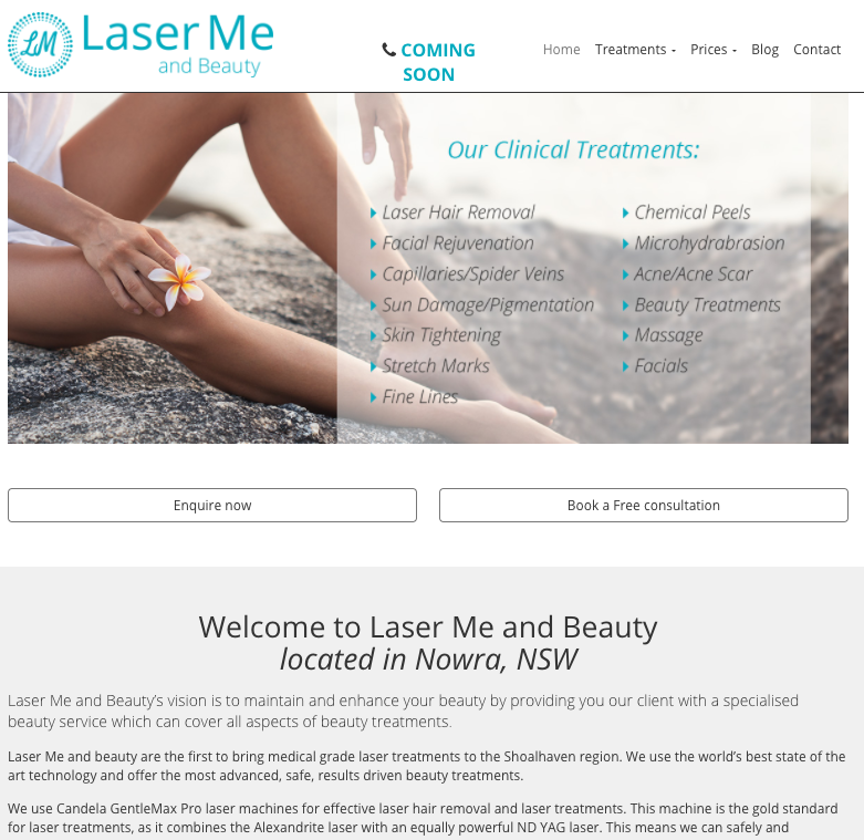 Laser me and beauty clinic website design